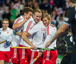 England players celebrate their first goal. England v Germany - Semi-Final Unibet EuroHockey Championships, Lee Valley Hockey & Tennis Centre, London, UK on 27 August 2015. Photo: Simon Parker