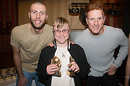 Sarah Bichard, Monifieth Ladies club player of the year pictured with Dundee United's Lewis Toshney and Simon Murray at Monifieth Ladies presentation evening at the Panmure Hotel, Monifieth - Photo: David Young, <br /> <br />  - &copy; David Young - www.davidyoungphoto.co.uk - email: davidyoungphoto@gmail.com