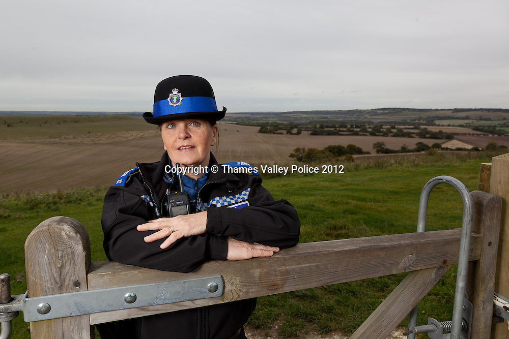 Portrait of PCSO Jackie Dodson who has been named Thames Valley Police PCSO of the year for Buckinghamshire in the 2012 Community Policing Awards, which are voted for by members of the public. Jackie is pictured in one of the National Trust car parks at  Ivinghoe Beacon which is a regular part of her patrol route, combating vehicle crime and antisocial behaviour in rural areas. Cookham, UNITED KINGDOM. September 19 2012. <br /> Photo Credit: MDOC/Thames Valley Police<br /> &copy; Thames Valley Police 2012. All Rights Reserved. See instructions.