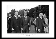 President John F. Kennedy pictured with Éamon de Valera at a garden party at Áras an Uachtaráin.<br />