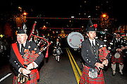 The Capitol City Highlanders in the Grand Procession on New Year's Eve in Austin Texas as part of the First Night 2009 celebration, December 31, 2008. First Night is an annual celebration of the arts  held on New Year's Eve in Austin Texas.