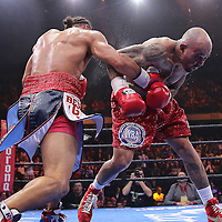 Keith Thurman (L) lands an overhand right to the face of Luis Collazo during their Premier Boxing Champions boxing match for the WBA Welterweight title on ESPN at the USF Sun Dome, on Saturday, July 11, 2015 in Tampa, Florida.  Thurman won the bout when the corner of Collazo stopped the fight at the beginning of the eighth round. (AP Photo/Alex Menendez)
