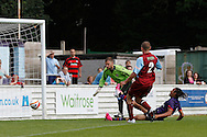 Picture by David Horn/Focus Images Ltd. 07545 970036.04/08/12.Phillip Roberts of Arsenal scores during a friendly match at The Meadow, Chesham.