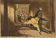 Stealing off; - or - prudent Secession. cartoon by James Gillray, 1756-1815, engraver. Published 1798.Charles Fox fleeing the House of Commons in terror, accompanied by a fierce greyhound wearing a collar marked 'Opposition Grey-hound'. A small animal with the head of M.A. Taylor runs behind. In the background, the Opposition benches with members of the Opposition eating papers marked with the positions of the party. The hands of Pitt are shown holding a long scroll of paper enumerating the government's positions.