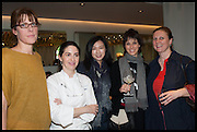 ANNA HANSEN; ELENA ARZAK; ,; LANSHU CHEN; HELENA RIZZO; ANGELA HARTNETT,  Veuve Clicquot World's Best Female chef champagne tea party. Halkin Hotel. Halkin St. London SW1. 28 April 2014.