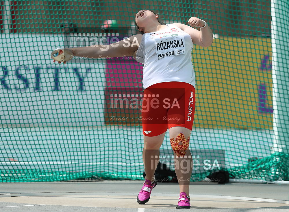 NAIROBI, KENYA - 12 July 2017, Ewa Rozanska of Poland in the qualification round of the women's discus during the morning session on Day 1 of the IAAF World U18 Championship held at the Kasarani Stadium in Nairobi, Kenya.<br /> Photo by Roger Sedres/ImageSA