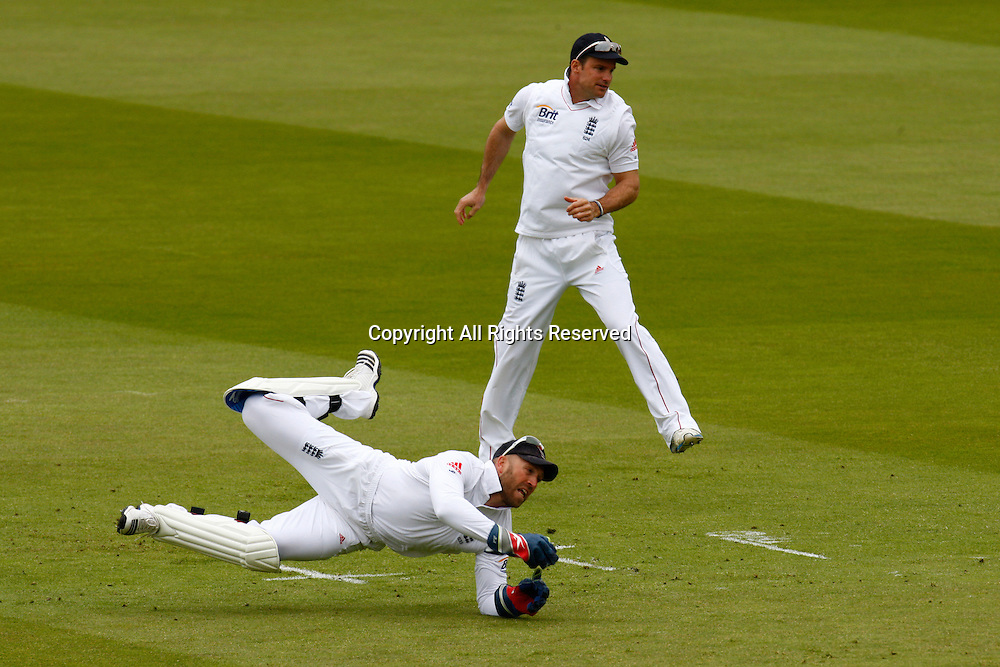 17.05.12 Lords,London, ENGLAND: <br /> A near miss for a catch behind the wicket from Matt Prior of England during the Investec First Test ( 1st Day of 5 )between England and West Indies
