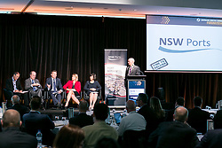 Mr Andrew Ethell (Session Chair), Mr Michael Lambert, The Hon Mark Birrell, Mr Stephen Cleary, Ms Shelly Roberts, Mr Mike Mrdak. ALC Forum 2014. Day 1. Australian Logistics Council. Royal Randwick Racecourse. Sydney. Photo: Pat Brunet/Event Photos Australia