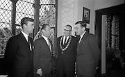 Opening of Kilkenny Design Workshop. Paul P. Hogan, Director; W.M. Walsh, Chairman; Alderman M.J. McGuinness, Mayor of Kilkenny; and Deputy John Gibbins, Parlimentary Secretary to hte Department of Finance..15.11.1965