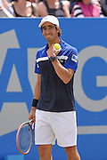 Pablo Cuevas (URU) has a wry smile during the semi-finals of Aegon Open at the Nottingham Tennis Centre, Nottingham, United Kingdom on 24 June 2016. Photo by Martin Cole.