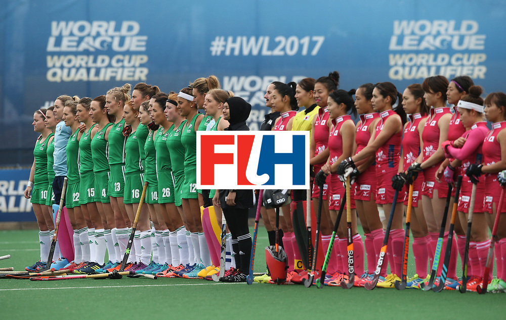 JOHANNESBURG, SOUTH AFRICA - JULY 8: Ireland and Japan players line up prior to the pool A match between Japan and Ireland on day one of the FIH Hockey World League Semi-Final at Wits University on July 8, 2017 in Johannesburg, South Africa. (Photo by Jan Kruger/Getty Images for FIH)