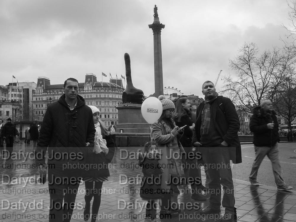 Trafalgar Sq. Nelson's column and fourth plinth. Thumb's up by David Shrigley, London. 7 January 2017