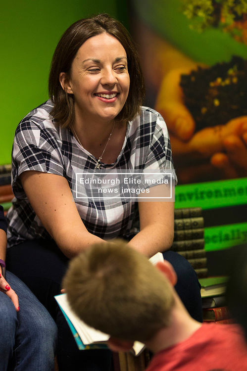 Scottish Labour leader Kezia Dugdale campaigns in Dunfermline. She reads the Roald Dahl book The Giraffe and the Pelly and Me to children on a visit with the party's Dunfermline and West Fife candidate Cara Hilton.
