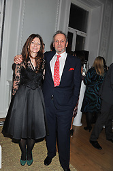 SARAH FABERGE and MARK SHAND at a champagne reception to launch The Big Egg Hunt presented by Faberge in aid of the charities Action for Children and Elephant Family held at 29 Portland Place, London on 18th January 2012.
