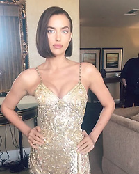 """Irina Shayk releases a photo on Instagram with the following caption: """"Zip ya corset for 2019\ud83c\udf1f @versace @donatella_versace Love u\ud83d\udc9b\ud83d\udc9b Fresh Major hair by fab hair team @harryjoshhair @jacobrozenberg @merriadearman! Thank u @ttmakarova @luciodirosa @alikavoussi \ud83d\udcab"""". Photo Credit: Instagram *** No USA Distribution *** For Editorial Use Only *** Not to be Published in Books or Photo Books ***  Please note: Fees charged by the agency are for the agency's services only, and do not, nor are they intended to, convey to the user any ownership of Copyright or License in the material. The agency does not claim any ownership including but not limited to Copyright or License in the attached material. By publishing this material you expressly agree to indemnify and to hold the agency and its directors, shareholders and employees harmless from any loss, claims, damages, demands, expenses (including legal fees), or any causes of action or allegation against the agency arising out of or connected in any way with publication of the material."""