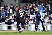 Sam Curran (Surrey) celebrates his wicket of Calum Haggett (Kent) during the Royal London 1 Day Cup match between Surrey County Cricket Club and Kent County Cricket Club at the Kia Oval, Kennington, United Kingdom on 12 May 2017. Photo by Jon Bromley.