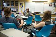 Forensic Science teacher Gordon Sanford talks about an upcoming Forensic Entomology segment of his class during Milpitas High School's Back to School Night at Milpitas High School in Milpitas, California, on September 1, 2015. (Stan Olszewski/SOSKIphoto)