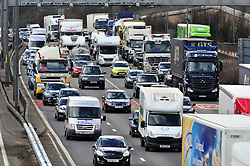 © Licensed to London News Pictures.29/03/2018<br /> Dartford, UK.<br />  Maundy Thursday Easter traffic chaos has started early on the A282 (Anti clock-wise towards M25) near Queen Elizabeth II Bridge in Dartford,Kent. <br /> Photo credit: Grant Falvey/LNP