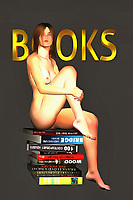 In this fine art piece, we are presented with two compelling images. We have a nude woman, and there is no question that she is absolutely stunning. We also find her sitting on top of a stack of books. Her expression is one that challenges us, and compels us to consider what she might be thinking. Then our minds naturally wander towards thoughts of what it means to bring these two things together. The woman seems to be calm, and we cannot say what is found within those books. When you look at this woman, you will certainly wonder what might be going through her mind.