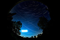 Star trails over New Jersey. Composite of images (22:00 to 22:59) taken with a Nikon D850 camera and 8-15 mm fisheye lens (ISO 100, 10 mm, f/4, 30 sec). Raw images processed with Capture One Pro, and the composite generated using Photoshop CC (statistics, maximum).