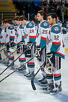 KELOWNA, CANADA - MARCH 5: Tyrell Goulbourne #12 of the Kelowna Rockets stands on the blue line against the Spokane Chiefs on March 5, 2014 at Prospera Place in Kelowna, British Columbia, Canada.   (Photo by Marissa Baecker/Getty Images)  *** Local Caption *** Tyrell Goulbourne;
