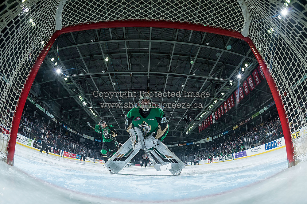 KELOWNA, BC - JANUARY 19: Ian Scott #33 of the Prince Albert Raiders skates to the net against the Kelowna Rockets  at Prospera Place on January 19, 2019 in Kelowna, Canada. (Photo by Marissa Baecker/Getty Images)***Local Caption***