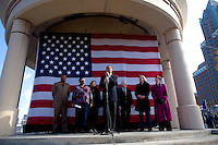 U.S. Senator Barack Obama (D-ILL) speaks to supporters as he and Wisconsin Governor Jim Doyle campaign for a get out the vote rally a week before the elections Tuesday Oct. 31, 2006 Milwaukee.  photo by Darren Hauck...........