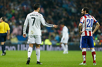 Real Madrid´s Cristiano Ronaldo (L) and Atletico de Madrid´s Juanfran during Spanish King´s Cup match at Santiago Bernabeu stadium in Madrid, Spain. January 15, 2015. (ALTERPHOTOS/Victor Blanco)