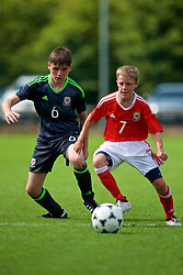 NEWPORT, WALES - Wednesday, July 25, 2018: Tom Henson and Morgan Williams during the Welsh Football Trust Cymru Cup 2018 at Dragon Park. (Pic by Paul Greenwood/Propaganda)