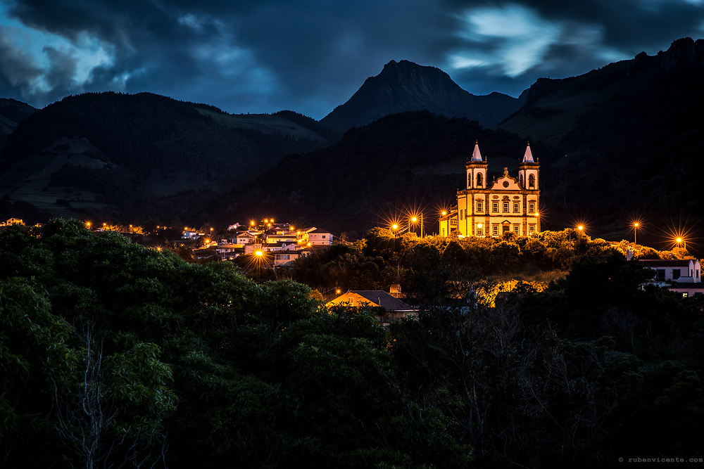 Fazenda village at dusk. Flores, Azores, Portugal