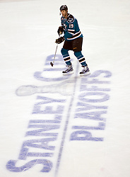 April 16, 2010; San Jose, CA, USA; San Jose Sharks center Joe Thornton (19) before game two against the Colorado Avalanche in the first round of the 2010 Stanley Cup Playoffs at HP Pavilion.  San Jose defeated Colorado 6-5. Mandatory Credit: Jason O. Watson / US PRESSWIRE