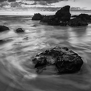 Drifting Waves - Woods Cove - South Laguna Beach - Sunset - Black & White