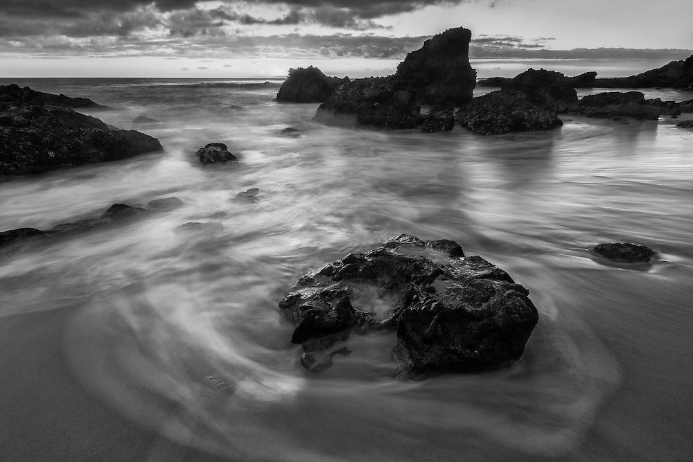 Drifting Waves - Woods Cove - South Laguna Beach - Sunset - Black & White