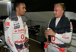 MONTE-CARLO, MONACO - Thursday, May 21, 2009: Lewis Hamilton and team-mate Heikki Kovalainen during practice for the Monaco Formula One Grand Prix at the Monte-Carlo Circuit. (Pic by Juergen Tap/Hoch Zwei/Propaganda)