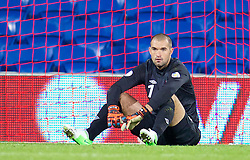 10.09.2013, Stamford Bridge, Cardiff, ENG, FIFA WM Qualifikation, Wales vs Serbien, Rueckspiel, im Bild Wales' goalkeeper Boaz Myhill looks dejected as Serbia score the second goal during the FIFA World Cup Qualifier second leg Match between Wales and Serbia at the Stamford Bridge stadium in Cardiff, Great Britain on 2013/09/10. EXPA Pictures © 2013, PhotoCredit: EXPA/ Propagandaphoto/ Alan Seymour<br /> <br /> ***** ATTENTION - OUT OF ENG, GBR, UK *****