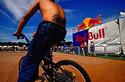 Tattoo on the back of a BMX rider Back Yard Jam Red Bull sponsored BMX event Hastings UK 2002