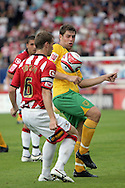 London - Saturday August 15th, 2009: Grant Holt (R) of Norwich City in action against Matthew Taylor of Exeter City during the Coca Cola League One match at St James Park, Exeter. (Pic by Mark Chapman/Focus Images)