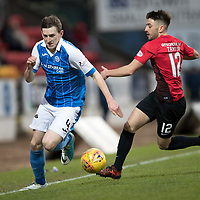 St Johnstone v Kilmarnock…02.12.17…  McDiarmid Park…  SPFL<br />Blair Alston goes by Greg Taylor<br />Picture by Graeme Hart. <br />Copyright Perthshire Picture Agency<br />Tel: 01738 623350  Mobile: 07990 594431