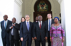 August 10, 2017 - Dar Es Salaam, Dar es Salaam, Tanzania - Bill Gates, American business magnate and philanthropist, poses with president John Magufuli at the Presidental State House. Gates applauds president Magufuli's commitment to poverty reduction in Tanzania and pledges his foundation's continued support.  Tanzania is one of 45 African countries in which the Bill and Melinda Gates Foundation plans to invest  billion by 2021. (Credit Image: © Ric Francis via ZUMA Wire)