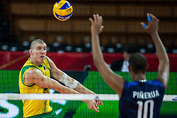 07.09.2014, Jahrhunderthalle, Breslau, POL, FIVB WM, Australien vs Venezuela, Gruppe A, im Bild Adam White australia #9 Kervin Pinerua venezuela #10 // Adam White australia #9 Kervin Pinerua venezuela #10 // during the FIVB Volleyball Men's World Championships Pool A Match beween Australia and Venezuela at the Jahrhunderthalle in Breslau, Poland on 2014/09/07. <br /> <br /> ***NETHERLANDS ONLY***