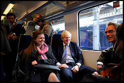 London Mayor Boris Johnson on the train during the Mayoral Campaign, London, UK, April 13, 2012. Photo By Andrew Parsons / i-Images.