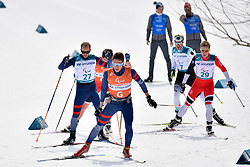 CHALENCON Anthony FRA B1 Guide: VALVERDE Simon, BYE Eirik NOR B3 Guide: NELSON Arvid, LEHMKER Steffen GER LW8 competing in the ParaSkiDeFond, Para Nordic Skiing, 20km at  the PyeongChang2018 Winter Paralympic Games, South Korea.