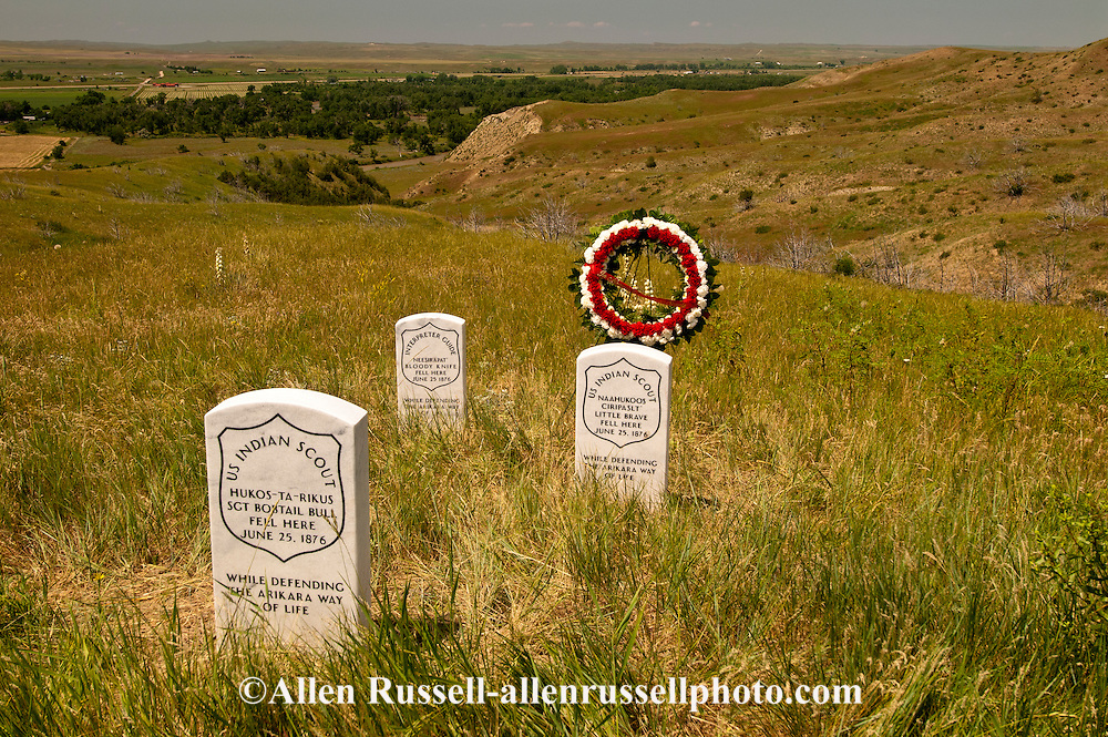 Little Bighorn Battlefield National Monument, Montana, markers Arikara Indian Scouts killed at battle