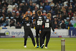 Sussex celebrate the wicket of Peter Trego.  - Mandatory by-line: Alex Davidson/JMP - 01/06/2016 - CRICKET - The 1st Central County Ground - Hove, United Kingdom - Sussex v Somerset - NatWest T20 Blast