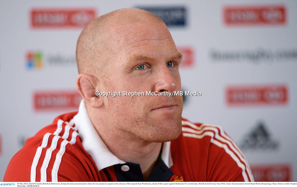 30 May 2013; Paul O'Connell, British & Irish Lions, during the team announcement, where he was named as captain in the absence of the injured Sam Warburton, ahead of their game against Barbarian FC on Saturday. British & Irish Lions Tour 2013, Team Announcement, Grand Hyatt Hotel, Hong Kong, China. Picture credit: Stephen McCarthy / SPORTSFILE