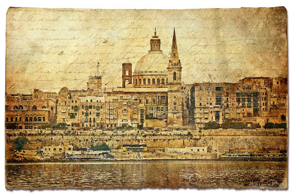 Valletta, Malta - Forgotten Postcard digital art European Travel collage