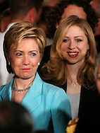 A 23MG IMAGE OF:.. Senator Hillary Rodham Clinton and Chelsea Clinton  at the unveiling of their official White House portraits in the East Room of the White House. . Photo by Dennis Brack