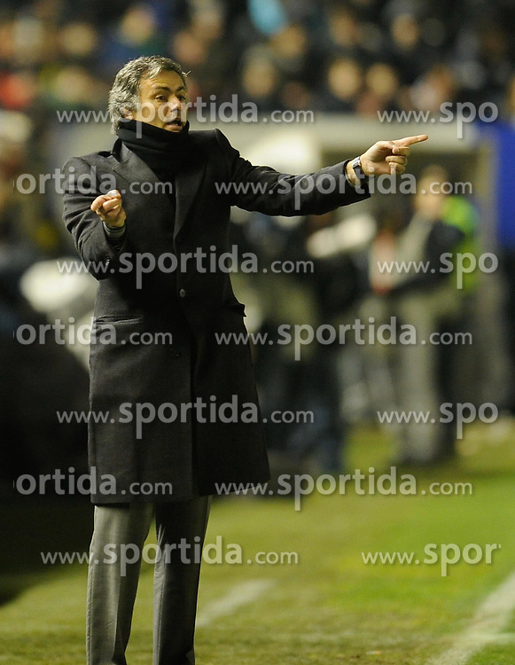 30.01.2011, Estadio Reyno de Navarra, Pamplona, ESP, Primera Division, CA Osasuna vs Real Madrid, im Bild Jose Mourinho // during the primera division liga match CA Osasuna vs Real Madrid at Estadio Reyno de Navarra, Pamplona, Spain, 30/1/2011. EXPA Pictures © 2011, PhotoCredit: EXPA/ Alterphotos/ Ricardo Ordonez +++++ ATTENTION - OUT OF SPAIN / ESP +++++
