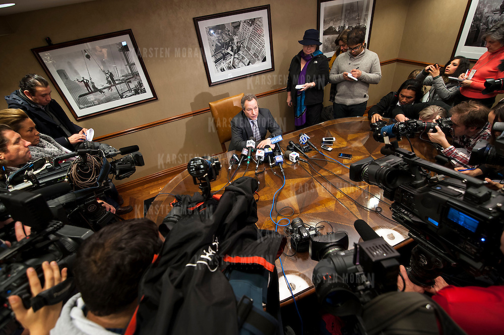 January 21, 2014 - New York, NY : <br /> David H. Perecman, attorney for the family of Avonte Oquendo, held a press conference at his office at 250 West 57th Street in Manhattan on Tuesday afternoon to announce that the remains <br /> discovered along the East River in Queens last week were matched to the missing autistic teenager. Pictured here, Mr. Perecman, seated at center, addresses reporters.<br /> CREDIT: Karsten Moran for The New York Times