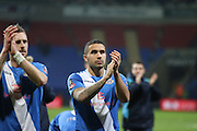 Ross Lafayette applauds the fans during the The FA Cup Third Round Replay match between Bolton Wanderers and Eastleigh at the Macron Stadium, Bolton, England on 19 January 2016. Photo by Pete Burns.